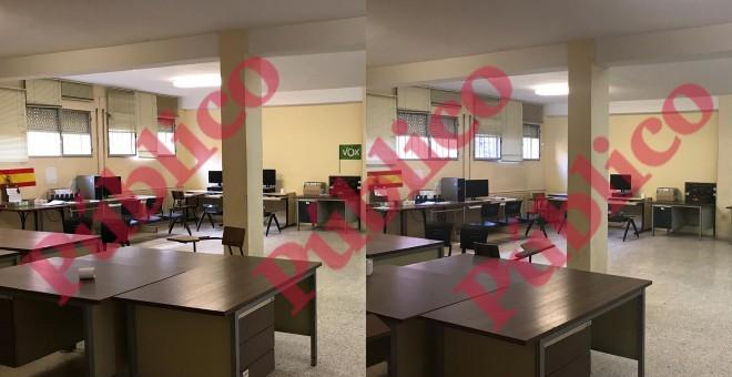 Imágenes de la Sala de Breefing de la Comisaría Villa de Vallecas antes y después de la información de 'Público'.