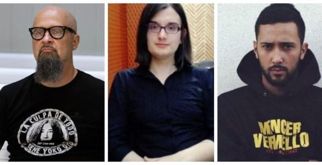 De izquierda a derecha: César Strawberry, Cassandra Vera y Valtonyc