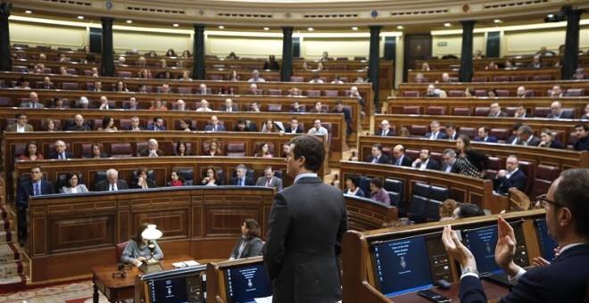El líder del PP, Pablo Casado, durante su intervención en la última sesión de control al Ejecutivo del año que celebra hoy el Congreso