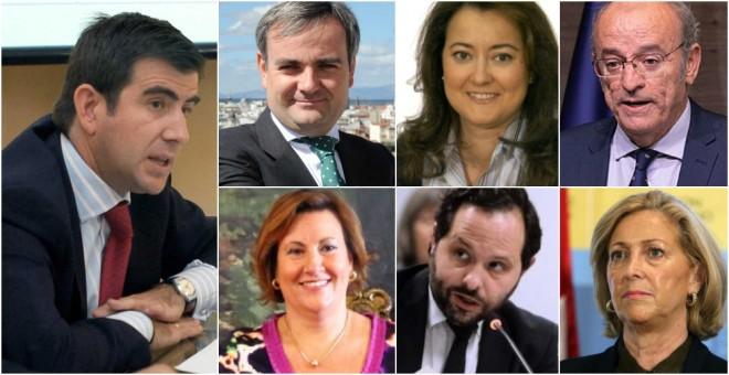 De izquierda a derecha y de arriba a abajo: Fermin Oslé, José Enrique Nuñez, Dolores Navarro, Pedro Corral, Paz González, Diego Sanjuanbenito y Concepción Dancausa