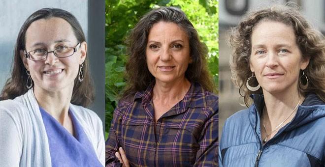 Los científicas Maura McLaughlin, Sandra Díaz y Julia Olson. / SINC