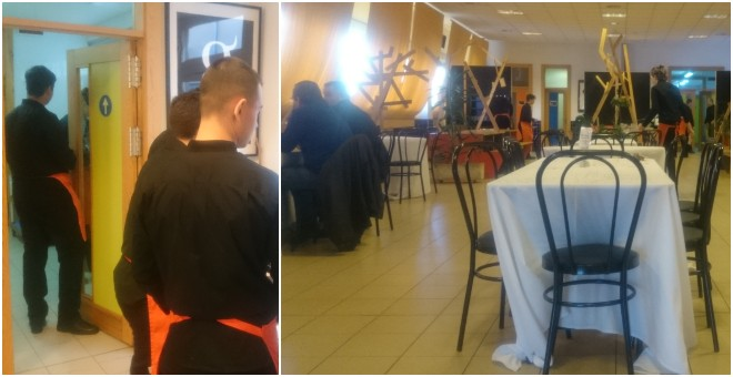Los camareros del restaurante Bitácora son alumnos de hostelería del colegio Hipatia. / PÚBLICO