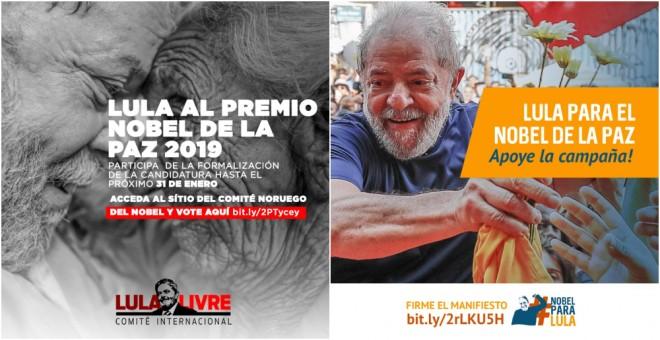 Carteles de la campaña pidiendo la candidatura de Lula para el Nobel de la Paz