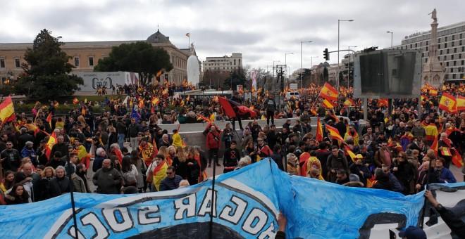 Miembros del grupo neonazi Hogar Social Madrid portan una pancarta con el escudo de la organización en Colón./ Fermín Grodira