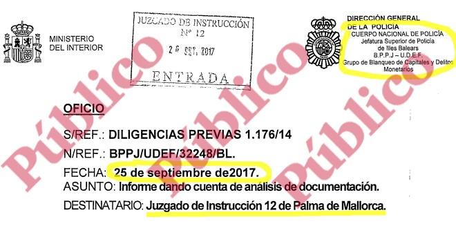 Encabezado del macro-informe del Grupo de Blanqueo de la UDEF, dirigido al Juzgado de Instrucción nº12 de Palma de Mallorca, sobre dos décadas de organización criminal mafiosa del PP en Baleares.