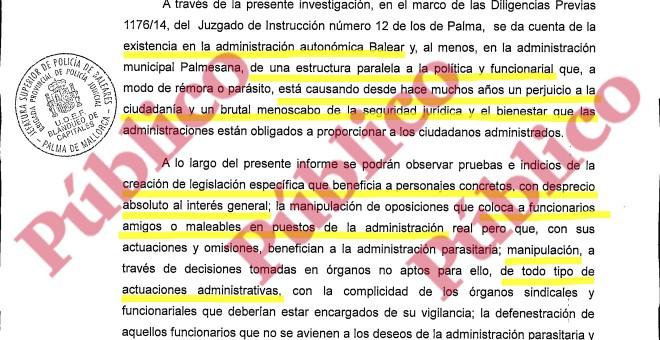 Fragmento del comienzo del informe del Grupo de Blanqueo de la UDEF sobre dos décadas de mafia del PP en Baleares.