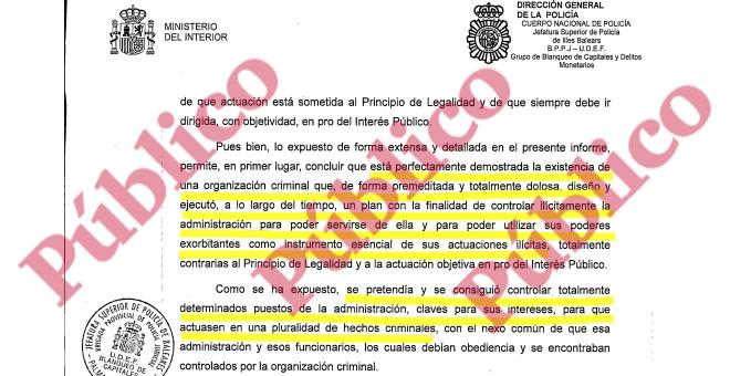 Conclusiones principales del informe del Grupo de Blanqueo de la UDEF sobre la organización criminal del PP que dominó las Baleares durante más de 20 años.