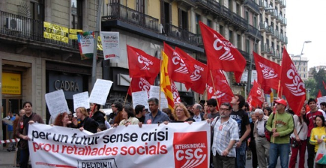 Una manifestación de la Intersindical-CSC