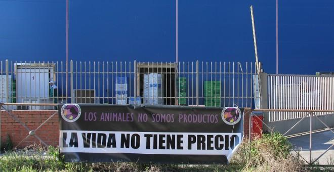 Pancarta colocada en la puerta del matadero: 'Los animales no somos productos. La vida no tiene precio'