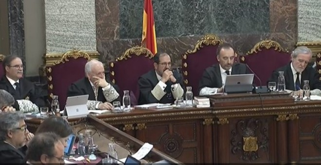Señal de TV del Tribunal Supremo durante el juicio del procés./Europa Press