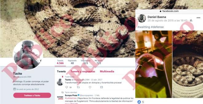 La portada de la cuenta de 'Tácito' en Twitter, encabezada por la misma serpiente que el coronel Daniel Baena emplea en su cuenta personal de Facebook (derecha), cerrada a cal y canto.