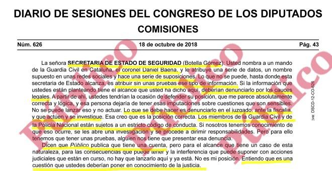 Respuesta de la secretaria de Estado de Seguridad a la pregunta de ERC sobre el teniente coronel Baena.