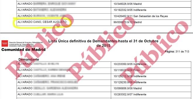 Lista de demandantes de vivienda social en Madrid, en 2015, donde aparece César Augusto Alvarado Cano.
