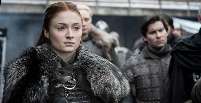 Sansa Stark (Sophie Turner) en primer plano, durante un momento del primer capitulo de la temporada 8 de'Juego de Tronos'. - HBO / HELEN SLOAN