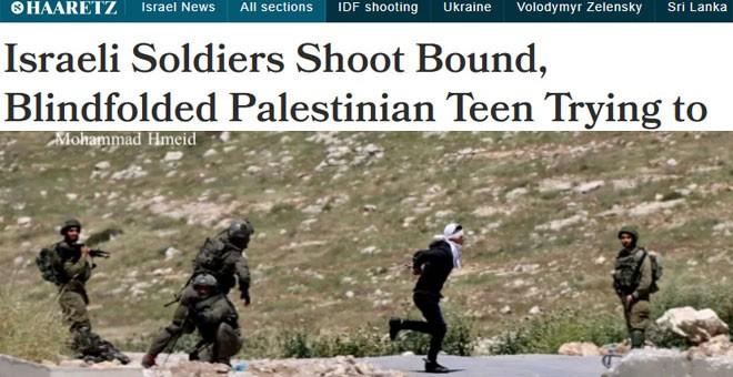 El diario israelí Haaretz ilustra el tiro que recibió un menor palestino con una imagen de Mohammad Hmeid.