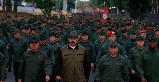 02/05/2019 - El presidente de Venezuela, Nicolás Maduro, durante una marcha del Ejército en Caracas. / REUTERS