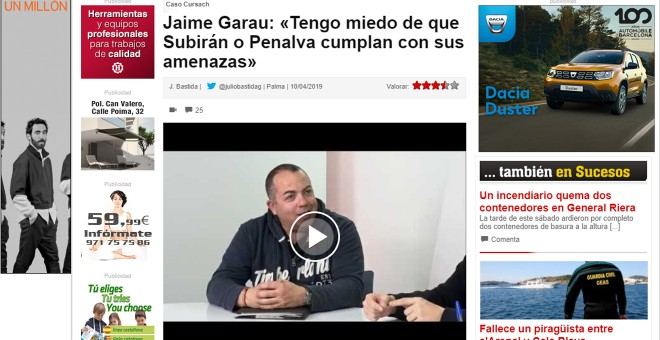 Entrevista a Jaime Garau en el espacio audiovisual 'Ley y Orden' del diario mallorquín 'Última Hora'.