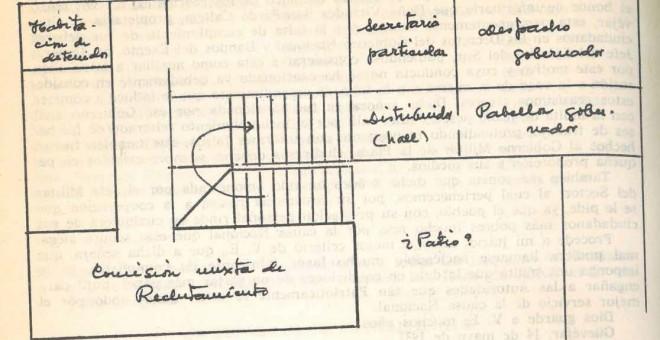 Posible distribución de la primera planta del gobierno civil.Fuente: Eduardo Molina Fajardo, Parece que fue dibujado por Carlos Jiménez Vílchez.