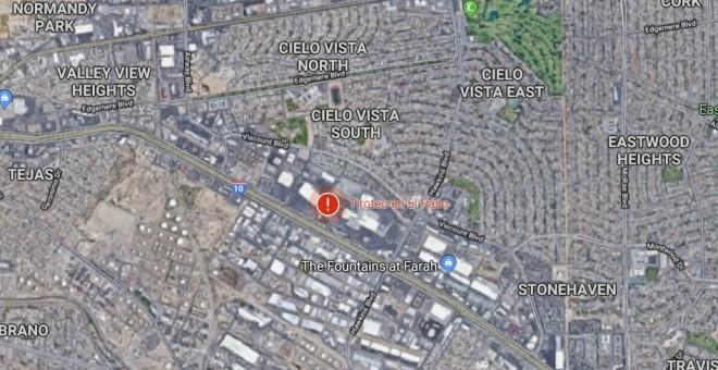 Lugar del tiroteo visto desde el satélite de Google Maps.