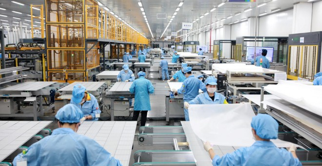 Fábrica de paneles solares fotovoltaicos en Ningbo, en la provincia de Zhejiang (China). REUTERS