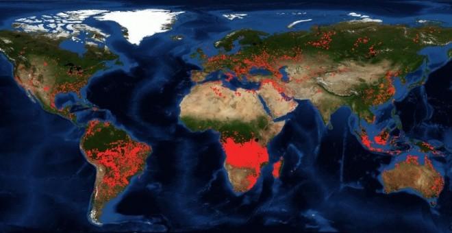 Captura de las imágenes satélite de la NASA que muestran los focos de incendios activos en el planeta. / FIRMS (NASA)