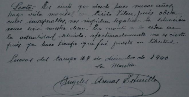 Escrito donde Ángeles Arenas confirma su relación con Cirilo durante más de nueve años en diciembre de 1940. / relatoras producciones