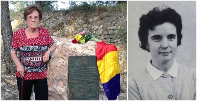 La guerrillera antifranquista Esperanza Martínez Sole. A la derecha, en la cárcel de Alcalá. / AGE