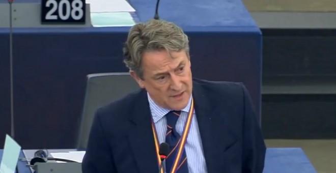 El periodista y eurodiputado de Vox Herman Tertsch, en una intervención en el pleno del Parlamento Europeo.