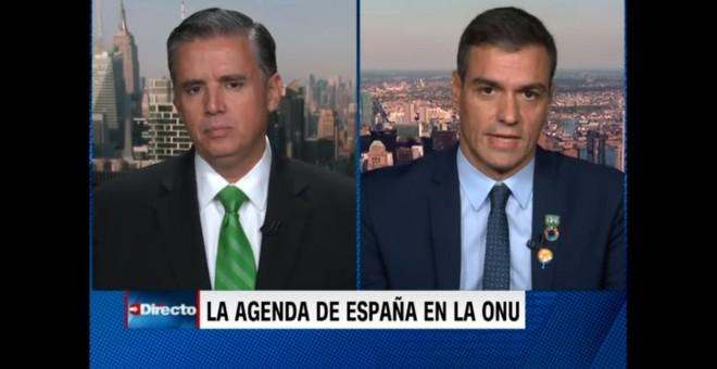 Pedro Sánchez en una entrevista con la cadena CNN