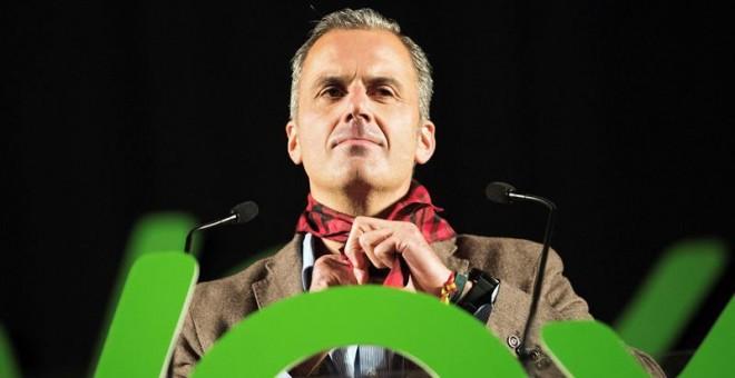 El secretario general de Vox, Javier Ortega Smith, participa este sábado en un acto público de la formación celebrado en la sala multiusos de Zaragoza, donde se ha preguntado retóricamente 'en qué país estamos, que nuestra policía está abandonada' y ha c