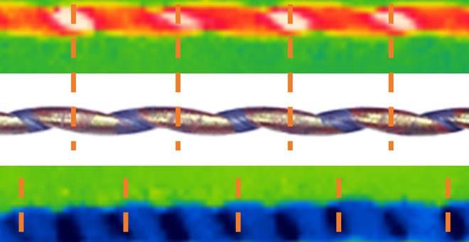 Imágenes térmicas y ópticas de una fibra de goma natural arrollada y estirada (arriba) y después de estirarla (abajo), que muestran el enfriamiento./ UNIVERSITY OF TEXAS AT DALLAS