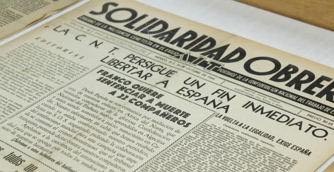 Ejemplar exhibido en la exposición del periódico anarquista 'Solidaridad Obrera' publicado en México en 1945. - Archivo CNT/ FAL