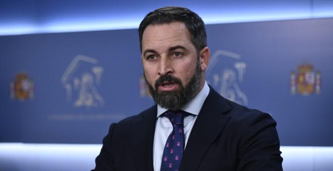 El líder ultraderechista Santiago Abascal durante la rueda de prensa del pasado lunes. / Europa Press