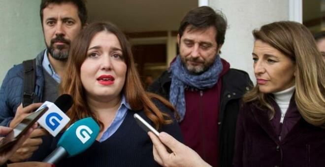 La exdiputada Ángela Rodríguez, investigada por los altercados durante la manifestación que los trabajadores de Alcoa realizaron ante el Congreso el pasado 28 de marzo. EFE