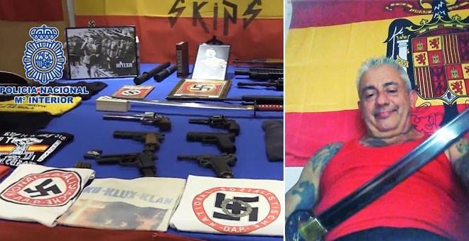 Las armas incautadas en el domicilio de Vicente Casinos, que posa con una catana y una bandera franquista.
