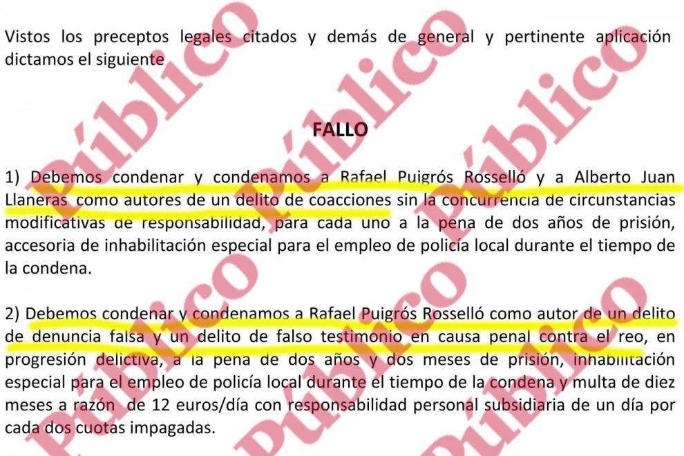 Sentencia de la Audiencia Provincial condenando a Puigrós y Llaneras por coacciones y al primero también por denuncia falsa y falso testimonio.