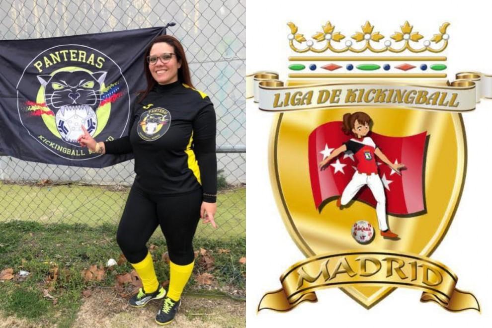 La jugadora Johani Chávez y el logo de la liga madrileña de kickingball.