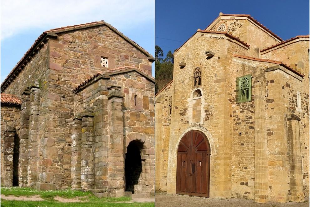 Santa Cristina de Lena (izQ.) y San Miguel de Lillo (der.). WIKIPEDIA