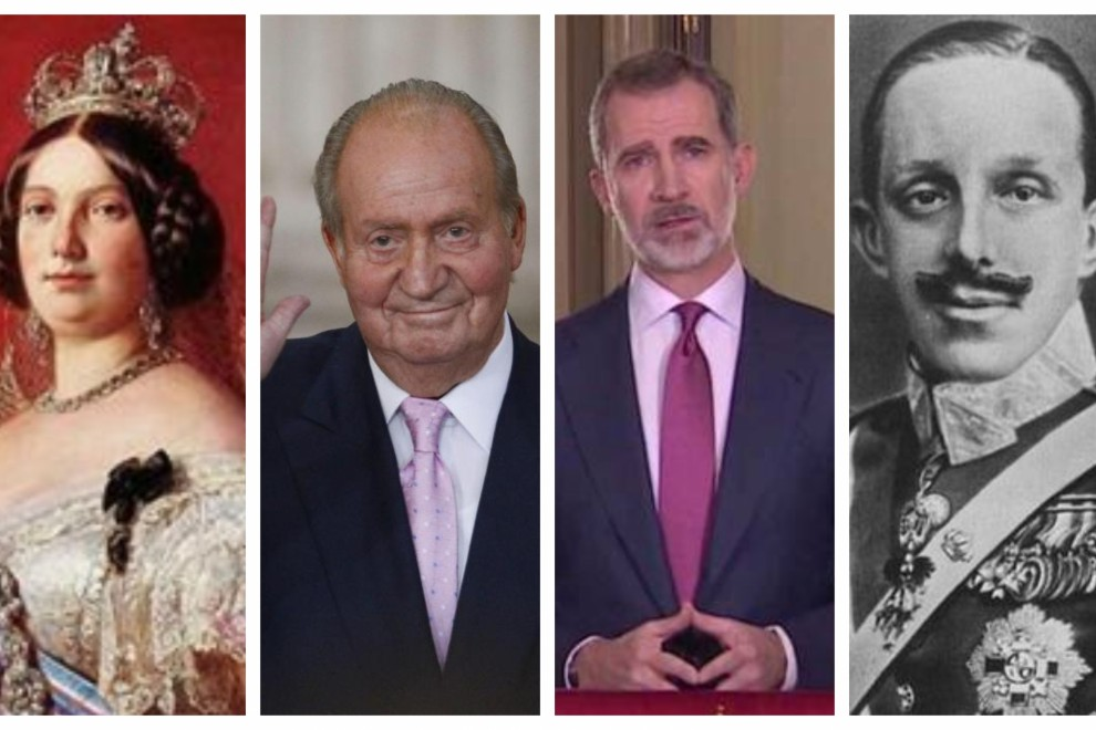 De izquierda a derecha: Isabel II, Juan Carlos I, Felipe VI y Alfonso XIII