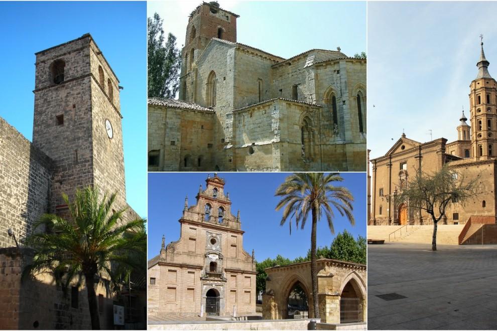 De izq. a der., algunos templos inmatriculador por la Iglesia: el campanario y ábside de la Iglesia-Fortaleza de Sant Bertomeu (Xàbia, Alicante); la Iglesia de Santa Cruz de Ribas (Palencia); el santuario de la Fuensanta (Córdoba); y la Iglesia de San Jua