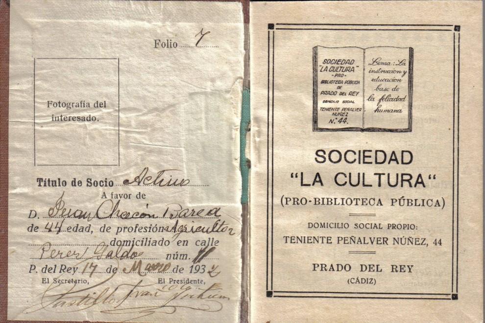 Carné de Socio de la biblioteca. / Archivo Fernando Romero