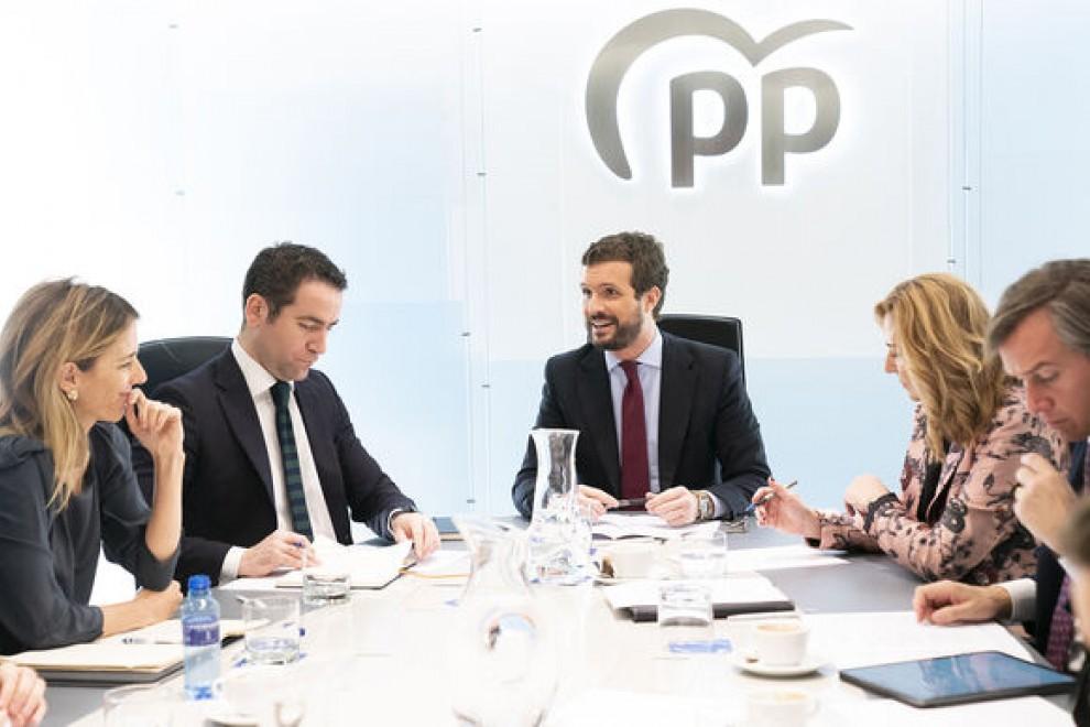 El líder del PP, Pablo Casado, junto a los vicesecretarios y portavoces del partido durante una reunión del Comité de Dirección del partido. Partido Popular
