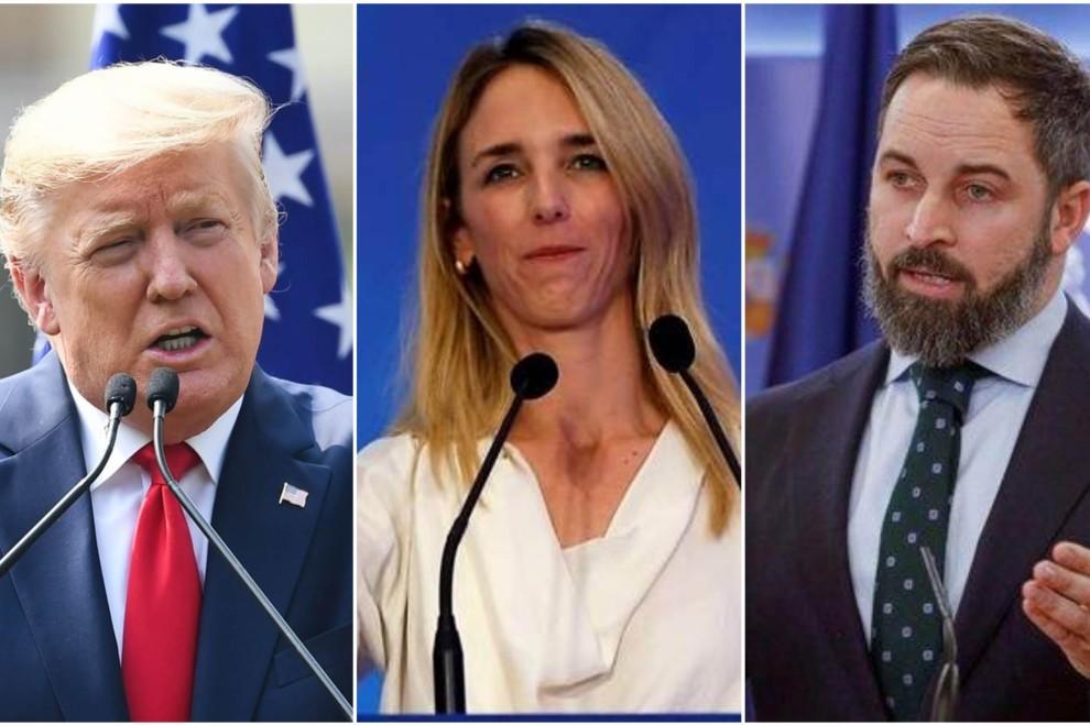 De izquierda a derecha: Donald Trump, presidente de los EEUU; Cayetana Álvarez de Toledo, portavoz del PP; y Santiago Abascal, líder de Vox.- AFP y EFE