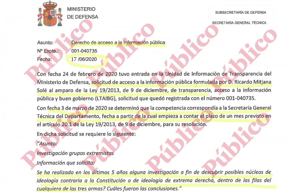 Encabezado de la inadmisión del acceso a la información sobre los núcleos de extrema derecha en el Ejército decidida por la Secretaría General Técnica de la Subsecretaría de Defensa.
