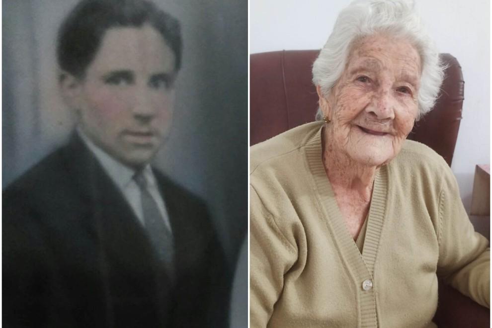 Leoncio, en una de las pocas imágenes que conserva la familia, y su hija Paula, de 89 años.