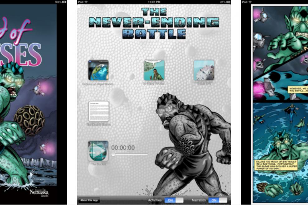 Cómic interactivo 'La batalla sin fin (virus del océano). / © Brent Schoonover, Angie Fox y Tom Floyd (Museo Estatal de la Universidad de Nebraska)