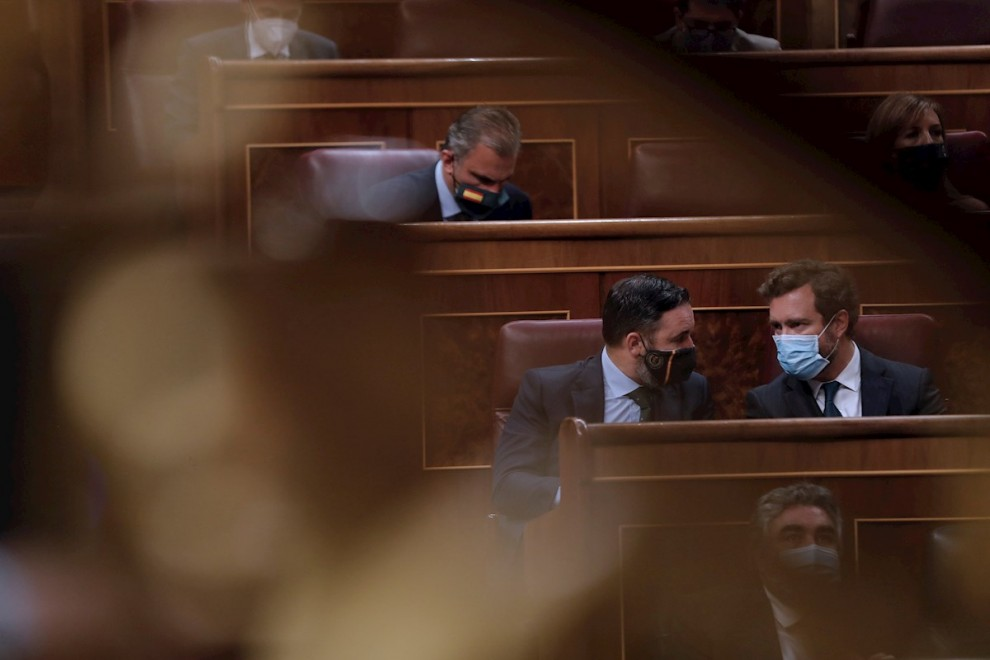 El líder de Vox, Santiago Abascal, el portavoz, Iván Espinosa de los Monteros y el diputado Javier Ortega Smith. - EFE