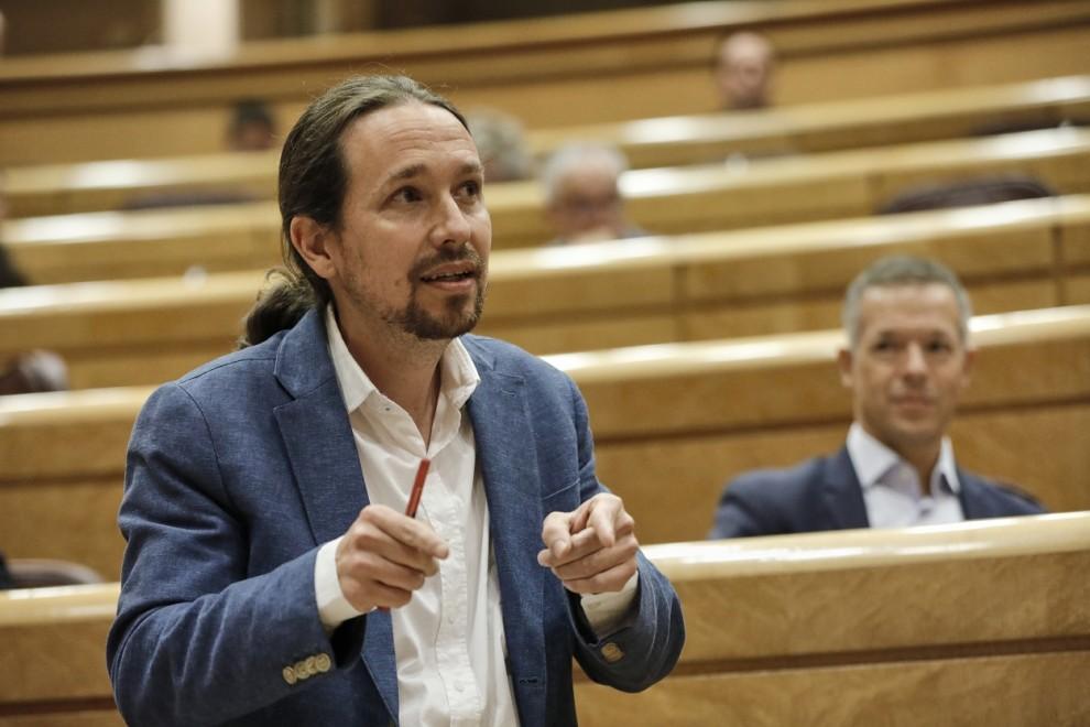 El vicepresidente segundo del Gobierno y líder de Podemos, Pablo Iglesias, durante su intervención en una sesión de control al Gobierno en el Senado. E.P./J. Hellín/Pool