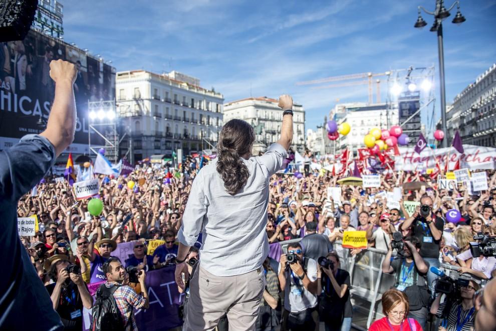 Concentración en la Puerta del Sol de Madrid de mayo de 2017 a favor de la moción de censura contra Mariano Rajoy.
