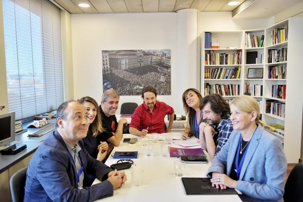 Reunión de trabajo de Pablo Iglesias, Yolanda Díaz y Rafael Mayoral con UGT y CCOO de octubre de 2019.